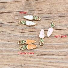 Cute 20PCS Enamel Carrot Rhinestone Pendants Gold Tone Charms DIY Jewlery 18x8mm