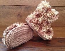 Hand Knitted Baby Booties Boots Slippers Girl Boy Brown Wookie Faux Fur  0-12M