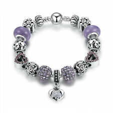 ROMANTIC LOVE Murano Glass Beads Charm Bracelet with European Beads Love Purple