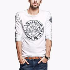 Cool Mens Long Sleeve Round Collar Contrasted Cotton Casual Shirt T-shirt M L XL