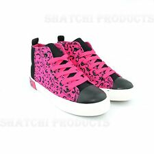 Shatchi Girls Canvas Pump Shoes Lace Up Hot Pink with Zip Trainer