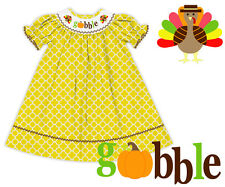 NWT Thanksgiving Turkey Gobble Yellow Quatrefoil Smocked Dress The Smocked Shop!