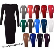 NEW WOMENS LONG SLEEVE MIDI DRESS LADIES STRETCH BODYCON DRESS PLUS SIZES 8-26