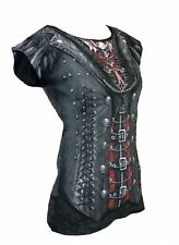 Spiral GOTHIQUE QUEEN All Over Cap Sleeve Printed Top, Goth Steam Punk Rock