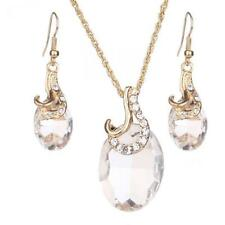oval Pendant Necklace for Party crystal Necklace and Earrings Jewelry Sets