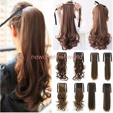 Blonde Brown Real Thick Tie Up Ponytail Hair Extensions Clip in on Pony Tail US