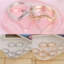 UK Girl 6pcs Set Gold Silver Rings Crystal Above Knuckle Stacking Band Mid Ring