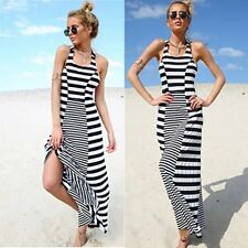 Hot Womens Summer Striped Round Neck Beach Dress Evening Party Long Sundress