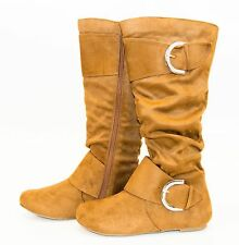 Women Knee High Tall Boots Slouch Two Buckle Zip Western Cowboy Faux Suede Shoes