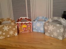 5 x Christmas Party Gift Food Favour Boxes - Snowflakes Gingerbread House