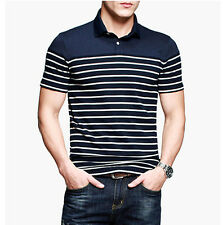 Mens Casual Shirt Polo Shirt Short Sleeve Button Front Solid Blue Black S~3XL