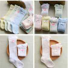 Baby Cotton Socks Girls Lace Non-slip Knee High Breath Socks Frilly Ribbons Bows