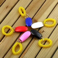 Dog Pet Click Clicker Training Obedience Agility Trainer Aid Wrist Strap HC