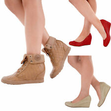New Ladies Womens Low Mid Heel Wedge Pumps Tan Suede Pumps Shoe Size 3 4 5 6 7 8