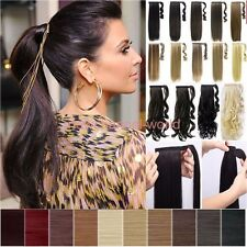 Real Thick Ponytails Clip in Hair Extensions Wrap Around Ponytail As Human Cheap