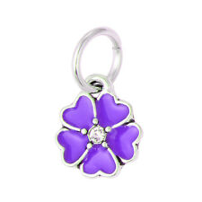 5X silver plated charms European beads Multi Color Four Leaf Flower for bracelet
