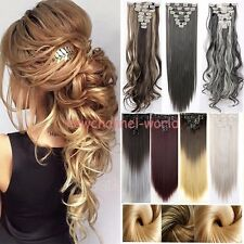100% Real Thick 8PCS Full Head Clip in Hair Extensions 18 clips on Straight Wavy