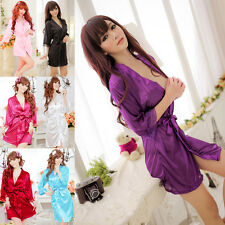 Women Sexy Lace Nightdress Sleepwear Lingerie Bathrobes Gown Kimono Robe Hot UK