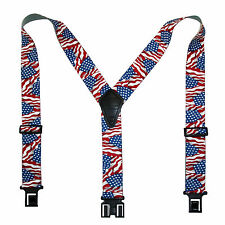 New Perry Suspenders Mens Elastic Hook End American Flag Suspenders (Reg & Tall)