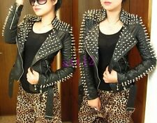 Womens Punk PU Snake Leather Cropped Spike Shoulder Studded Coat Jacket Outwear