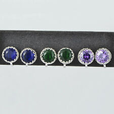 Lucky cuff stud earrings womens green Crystal christmas korean jewelry