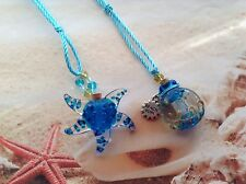SEA BLUE STARFISH MURANO GLASS BOTTLE PERFUME OIL ADJUSTABLE CORD PENDANT