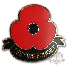 POPPY LAPEL PIN BADGE ARMY ENAMEL LEST WE FORGET SCROLL REMEMBRANCE DAY 11.11.11