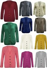 WOMENS LADIES LONG SLEEVE BUTTON CARDIGAN CABLE KNITTED GRANDAD CARDIGAN 8 - 26