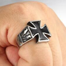 Men's  Fashion Jewelry Plated Black Cross 316L Stainless Steel Punk Biker Ring