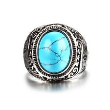 Fashion Jewelry 316L Stainless Steel Turquoise Vintage Men's Ring Rocker Punk