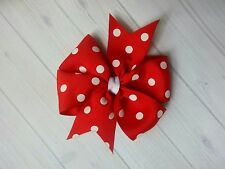 "Red with White Dots Polka Dot Hair Bow - 4"" Bow - Clip or Barrette"