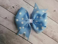 "Blue with White Dots Polka Dot Hair Bow - 4"" Bow - Clip or Barrette"