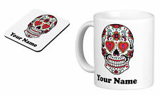 Personalised Mug Cup Sugar Skull with your TEXT (name), Birthday gift s5