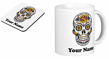 Personalised Mug Cup Sugar Skull with your TEXT (name), Birthday gift s6
