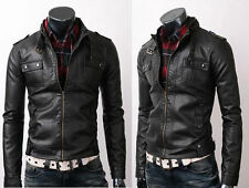 Mens Strap Pocket Slim Fit Stylish Sheepskin Leather Jacket