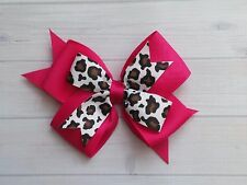 "Boutique Leopard Spot Hot Pink Double Layer 4"" Hair Bow - Clip or Barrette"