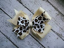 "Ivory Bow with Leopard Print Accent Double Layer Hair Bow 4"" Bow Clip Barrette"
