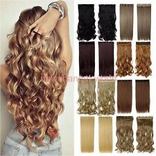 lady 3/4 full head Clip In as remy Hair Extensions straight curly brown long new