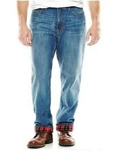 St Johns Bay Mens Flannel Lined Jeans Relaxed fit Cotton sizes 38 40 42 NEW