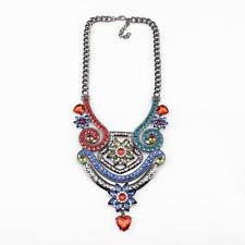 chain alloy colorful crystal chunky statement women necklace jewelry wholesale