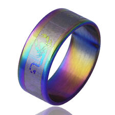 Womens mens Stainless Steel Rainbow Ring Fashion Jewelry Size 6 7 8