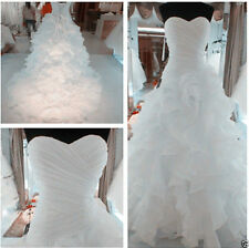 White/Ivory A line Wedding Dresses Sweetheart Ruffles Bridal Gown Size UK4-6-16