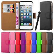 Wallet Flip Leather Book Case Cover Stand For Apple iPhone Free Screen Protector