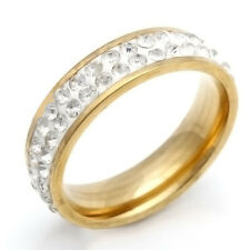 Fashion jewelry Yellow Plated Stainless Steel Womens Rare Clear CZ Ring 7-11