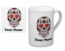 Personalised Mug (with coaster) Bone Chine Cup Sugar Skull with your TEXT (name)