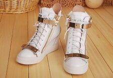 2016 Vogue Women High Top Sneakers Lace Up Shoes Ankle Wedge Boots Plus Size