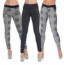 Ladies Womens Smart Black White Leggings Stretchy Pants Trousers Plus Size 6-20