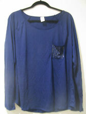 BNWT LADIES NAVY BLUE TOP SIZE  18 20 LONG SLEEVES DIAMANTES