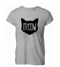 Meow Cat Lady Kitten Feline Hipster Tumblr Womens Mens T-Shirt Grey