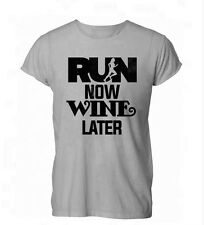 Run Now Wine Later Funny Booze Drink Womens Mens T-Shirt Grey